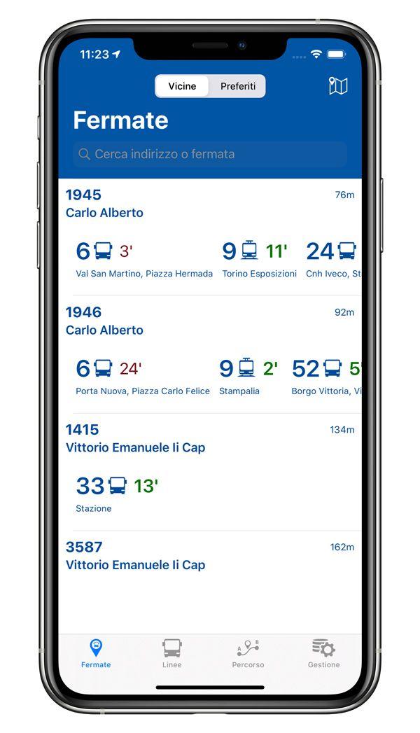 Bus Torino: schermata con fermata e orari