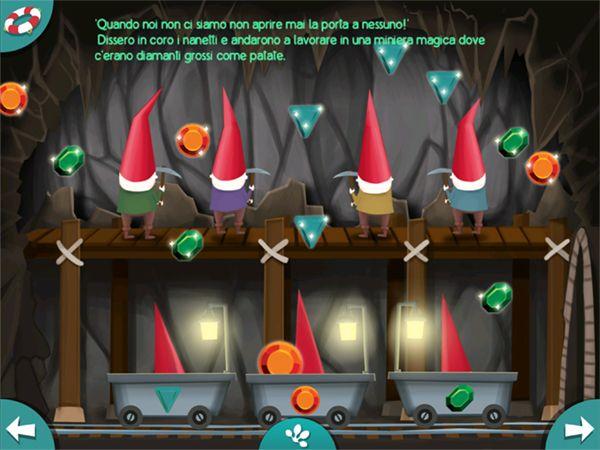 La fiaba di Biancaneve contiene dei mini giochi interattivi per i bambini