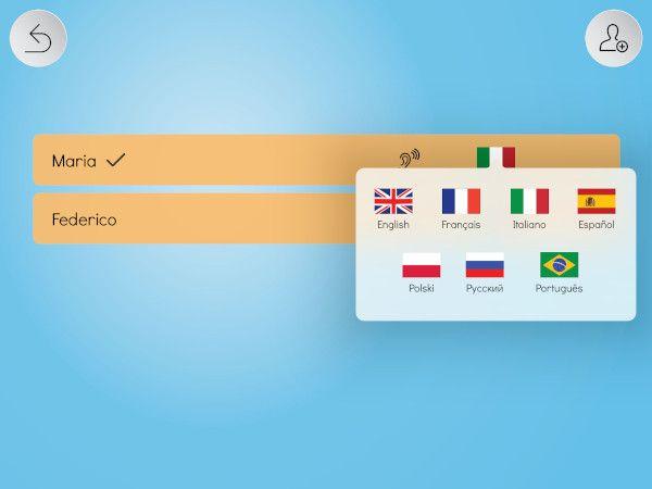 App Tabelline Parlante supporta le lingue: italiano, inglese, francese, portoghese, spagnolo, russo e polacco