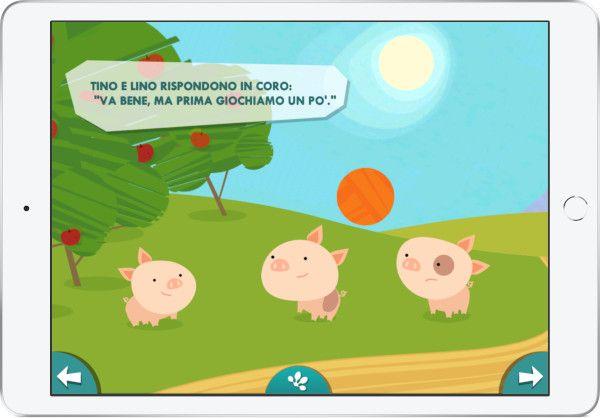 Favola I tre porcellini, schermata dell'app