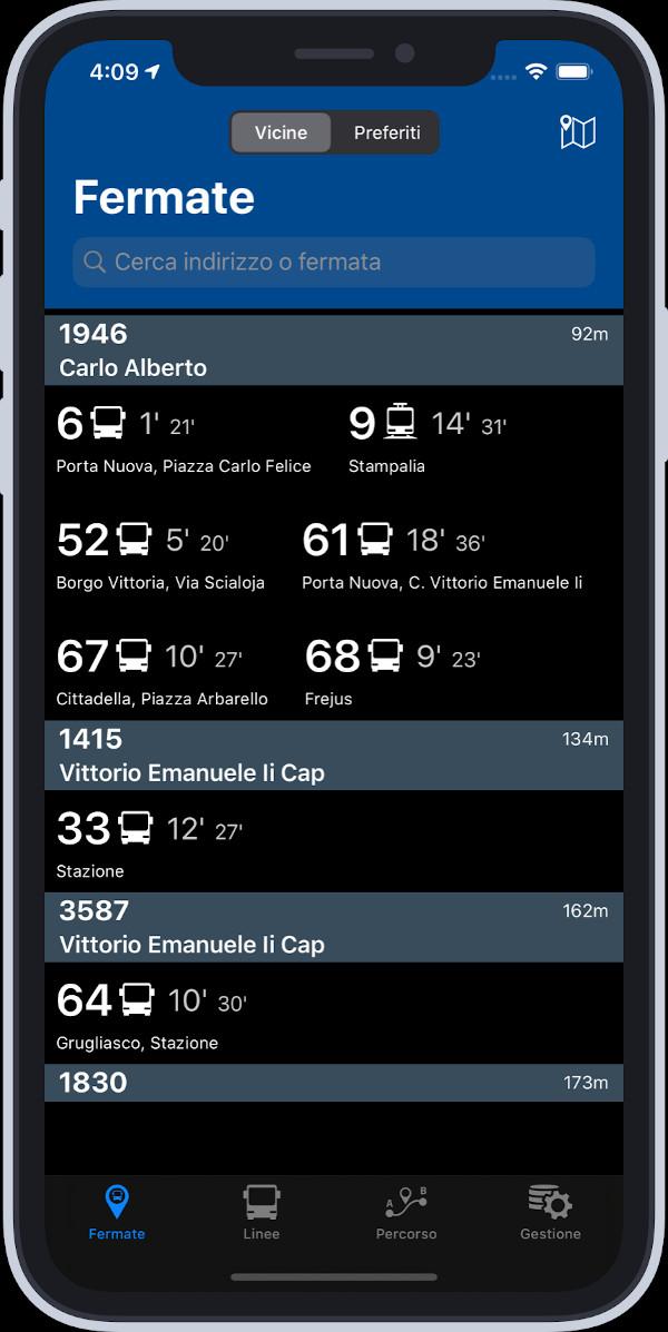 Bus Torino: schermata con fermata e orari in modalità scura