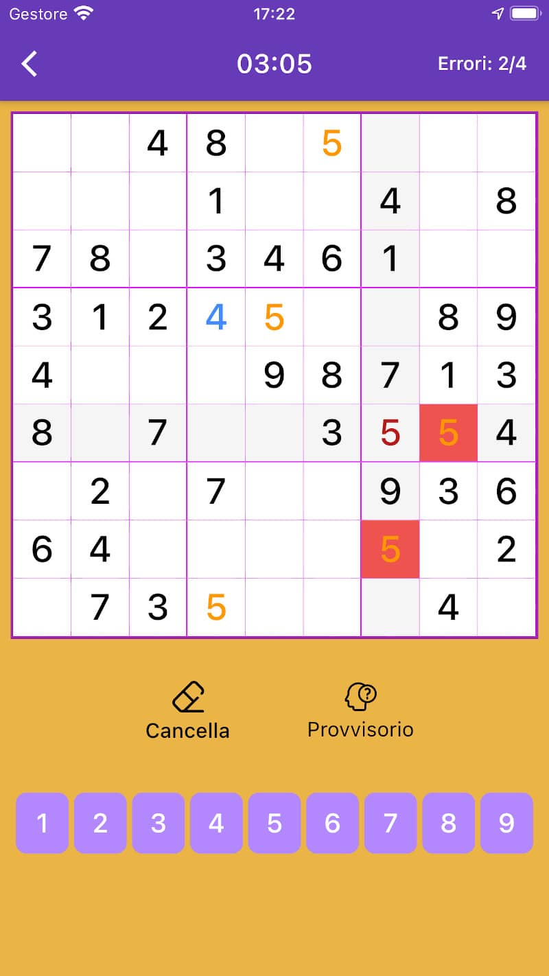 Sudoku for You - interfaccia